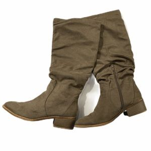 R2 Faux Suede Scrunch Tall Riding Boots Brown